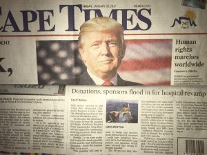 Cape Times Front Page January 2017