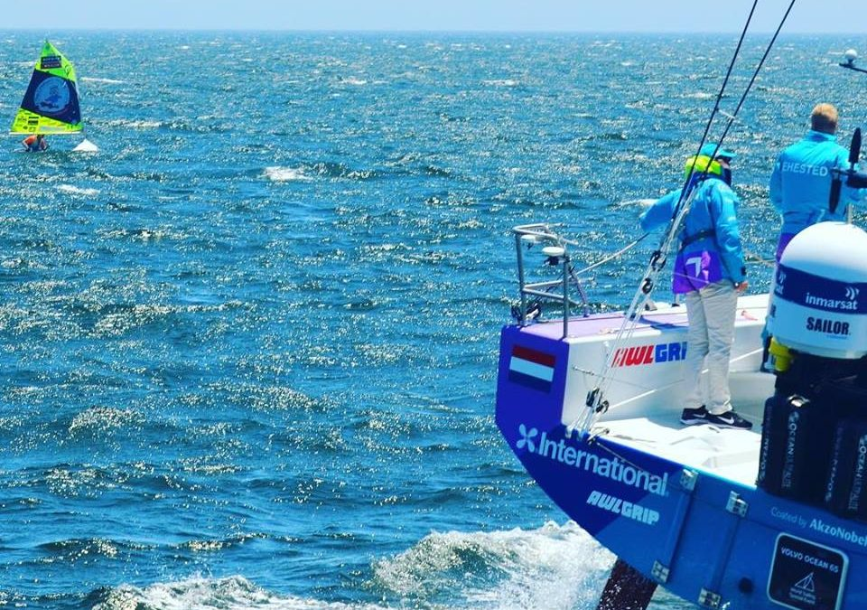 The little Optimist takes on the big super yachts at the Volvo Ocean Race in 25 knots of Wind. 08/12/17