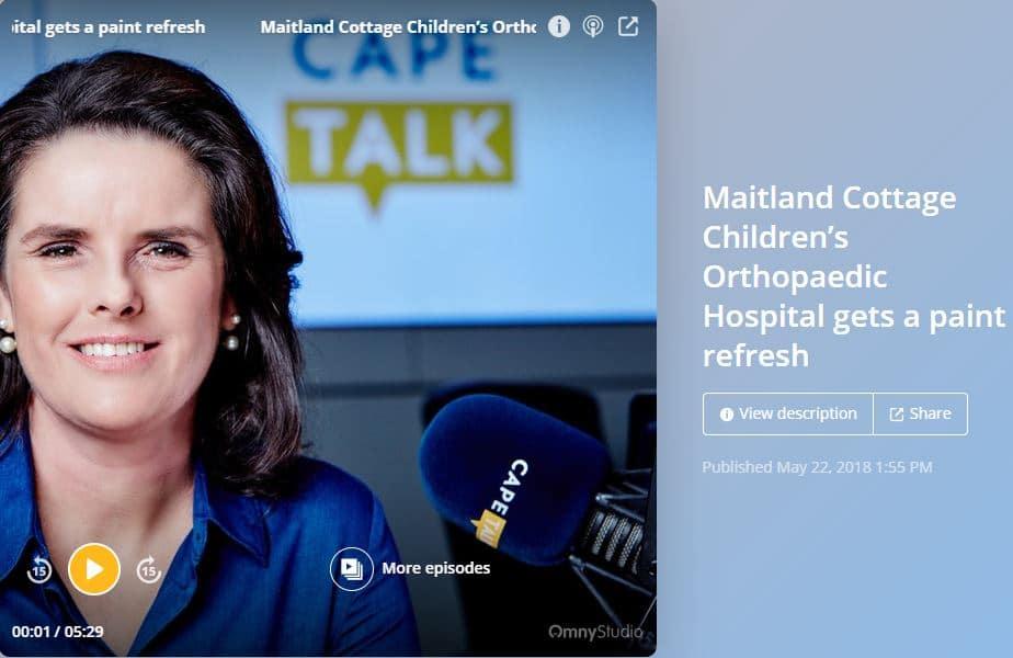 CAPE TALK – MAITLAND COTTAGE CHILDREN'S HOSPITAL GETS A PAINT REFRESH BY THE LITTLE OPTIMIST