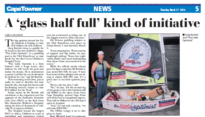 The Little Optimist In The Cape Towner Newspaper